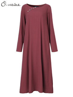 O-Newe Casual Pure Color Long Sleeve O-Neck Maxi Dress For Women