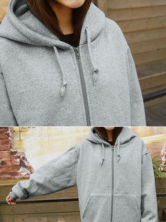 Women Casual Thicken Pure Color Hooded Hoodie Coat