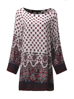 Chinese Style Printed Long Sleeve O-Neck Mini Dress For Women