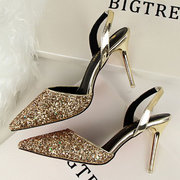 Shiny Bling Hollow Out Slip On High Heel Sexy Pumps