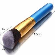 10Pcs Blue Handle Brushes Set Soft Rayon Wool Powder Foundation Eyeshadow Lip Brush