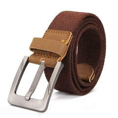 Mens Canvas Cowhide Trimmings Single Buckle Woven Belts