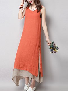 Vintage Pure Color Layer Sleeveless Women Dress