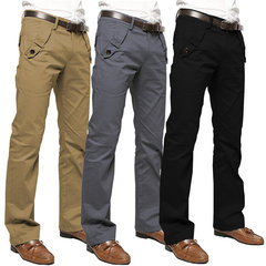 Men's Casual Business Slim Fit Long Straight Slacks Trousers Pure Cotton Pants