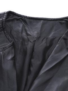 Женщины с длинным рукавом PU Motorcyle Zipper пальто куртки