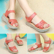 Leather Hollow Out Strappy Bandage Soft Comfortable Hook Loop Platform Sandals