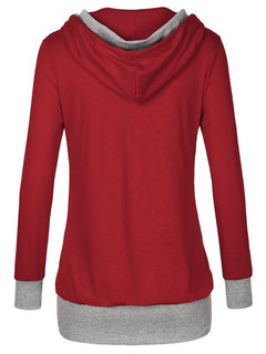 Casual Hooded Two Colors Patchwork Long Sleeve Sweatshirt For Women