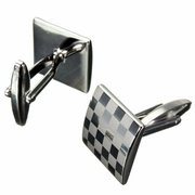 Men Silver Grid Pattern Cufflinks Stainless Steel Square Lattice Wedding Party Gift Accessories
