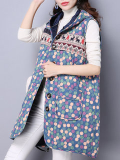 Fashion Casual Dots Hooded Sleeveless Mid-length Thicken Coat For Women