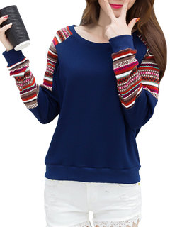 Casual Geometric Patterns Patchwork O-Neck Long Sleeve Pullover Sweatshirt
