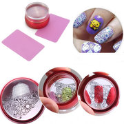 3Pcs/Set Nail Art Stamping Stamper Clear Head Red Metal With Cap & 2 Scrapers