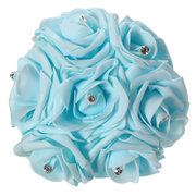 7 Heads Bride Bouquet Colourfast Foam Roses Crystal Artificial Flower Home Wedding Party Decoration