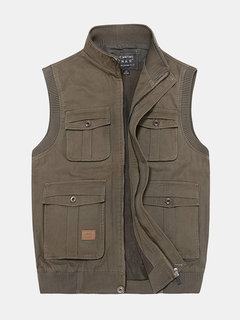 Casual Outdoor Cotton Multi-Pocket Fishing Photographic Stand Collar Waistcoat for Men