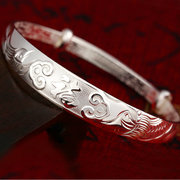 Copper Plated Dragon Blessing Silver Bracelet