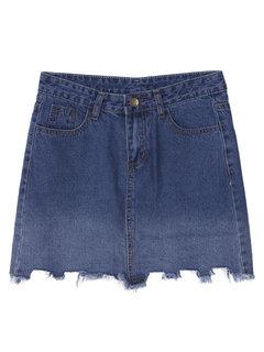 Градиент завышенной талией кисточкой вскользь Женщины Джинсовые мини-юбки