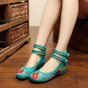 Floral Embroidery National Wind Chinese Knot Lace Up Wedge Heel Shoes