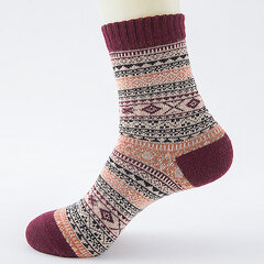 Casual Retro Ethnic Pattern Thick Warm Wool Blended Socks For Men