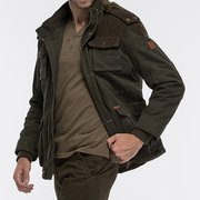 senlin Jeep Plus Size Outdoor Multi Pockets Thicken Washed Cotton Stitching Jacket for Men