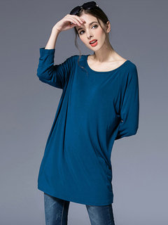 Elegant Loose Women Pure Color Round Neck Long Sleeve Mid-Length Blouse
