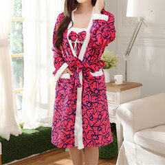 Cozy Flannel Long Sleeve Bathrobe Thicken Keep Warm Two Pieces Nightgown For Women