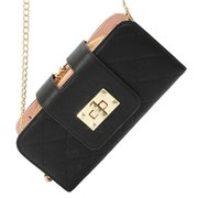 Women Grid Leather Long Wallet Clutches Bag