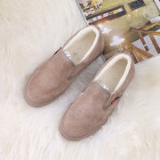 Pure Color Fur Lining Casual Slip On Flat Shoes