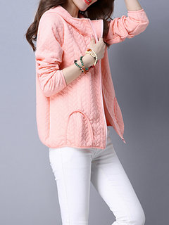 Women Casual Elegant Pure Color Hooded Long Sleeve Zipper Coat
