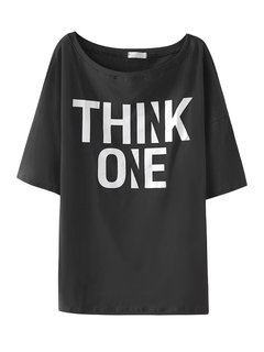 Casual Women Half Sleeve Letter Printed O Neck T-shirt