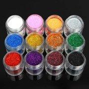 12 цветов Холо Блестящий Блеск искусства ногтя порошок пыли Slice Советы Голографическая украшения