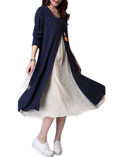 Ruffles Patchwork Long Sleeve Fakle Two Pieces Loose Vintage Dress