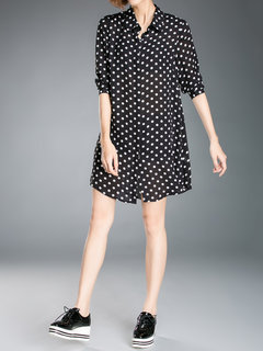 Casual Polka Dot Lapel Long Sleeve Mini Shirt Dress For Women