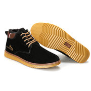 Suede Fur Lining Ankle High Top Casual Warm Lace Up Boots