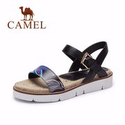 Camel Leather Pattern Peep Toe Buckle Soft Comfortable Flat Casual Sandals