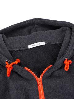 Casual Women Long Sleeve Zipper Solid Hooded Sweatshirts