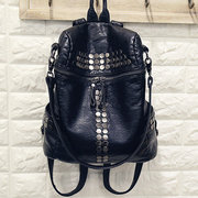 Casual Durable Black PU Leather Rivet Shoulder Bags Backpack School Bags