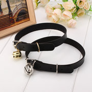 Punk Rock Necklace Leather Bell Pendant Choker Collar Necklace