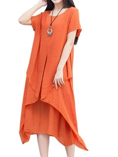 Casual Women Solid O-Neck Fake Two-piece Cotton Linen Dress