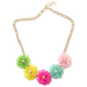 Resin Flowers Inlay Crystal Collar Nechlace
