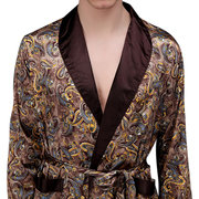 Sexy Printing Imitation Silk Pajamas with Belt Long Sleeve Robe for Men