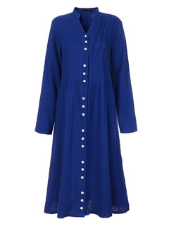 O-NEWE Pure Color V Neck Button With Belt Dress For Women