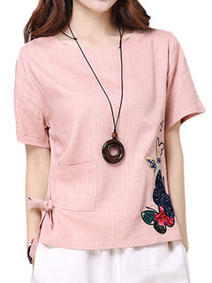 Women Embroidery Short Sleeve O Neck Pocket Vintage T-shirt