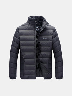 Casual Stand Collar Lightweight Thin Duck Down Jacket Warm Jacket For Men
