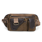 Men Canvas Sport Outdoor Casual Zipper Chest Waist Bags