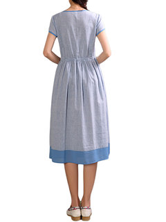Elegant Women Embroidery Drawstring Short Sleeve High Waist A-line Midi Dress