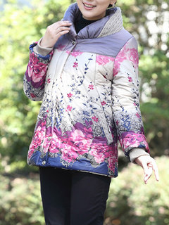 Women Ethnic Printing Stand Collar Zipper Button Thicken Coat