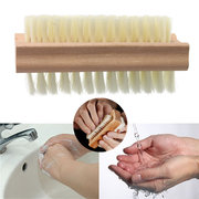 Wooden Double Side Nail Cleaning Scrubbing Brush Manicure Tool