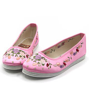 Embroidery Retro Rose National Wind Colorful Slip On Flat Loafers