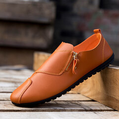 Mix Zipper Decoration Slip On Flat British Style Oxford Shoes For Men