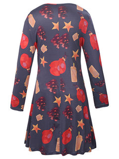 Autumn Winter Christmas Pattern Printed Mini A-Line Dress For Women