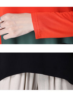 Autumn Casual Loose Three Colors Stitching Round Neck Blouse For Women